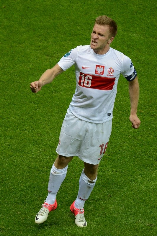 Polish midfielder Jakub Blaszczykowski reacts after scoring during the Euro 2012 championships football match Poland vs Russia on June 12, 2012 at the National Stadium in Warsaw.