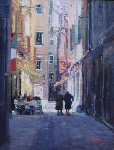A Venetian Street, 42 x 33cm, Oil on Belgian Linen - Betina Fauvel-Ogden