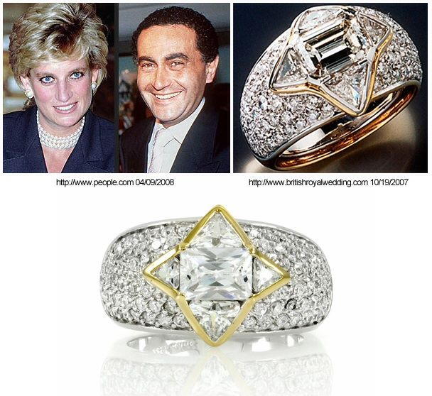 The ring Diana picked out at Repossi Jewelry in Monte Carlo in August 1997 where she was vacationing with Dodi al Fayed. According to his father, Mohamed al Fayed, the ring was meant to be an engagement ring, but Diana's friends dispute this, and said she told them firmly the ring was for her right hand. The ring was sent to the Paris store and was picked up just hours before the fatal crash that killed both of them on August 31. It has been said the ring was purchased for $200,000.