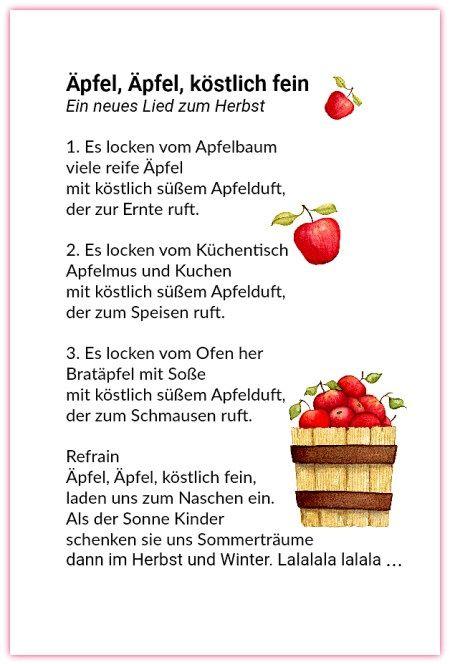 Äpfel, Äpfel, köstlich fein. Ein neues Gedicht und Lied zum Herbst.