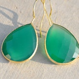 These bright aqua and gold earrings are fantastic!  These would be perfect for the summer!