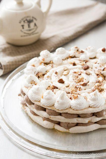 Tea and Almond Nougat Meringue Cake