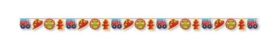 Create a blazing scene at a birthday boy�s party with the Firefighter Paper Garland decoration.  The colorful party garland features alternating die cut graphics of red fire trucks, red fire chief hard hats, golden yellow badges and a red fire hydrant.  Die cut images are attached to a red cord and measures approximately 12 feet long (3.65 m).  Garland is sold individually.