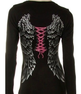 Details About Gothic Corset Angel Wings Fitted Ladies