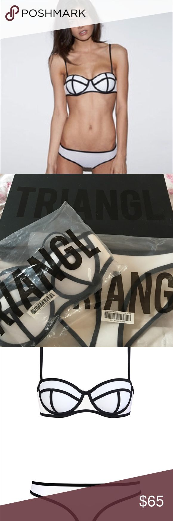 Original black and white triangl bikini Comes with box. Top is small. Bottom is extra small. triangl swimwear Swim Bikinis