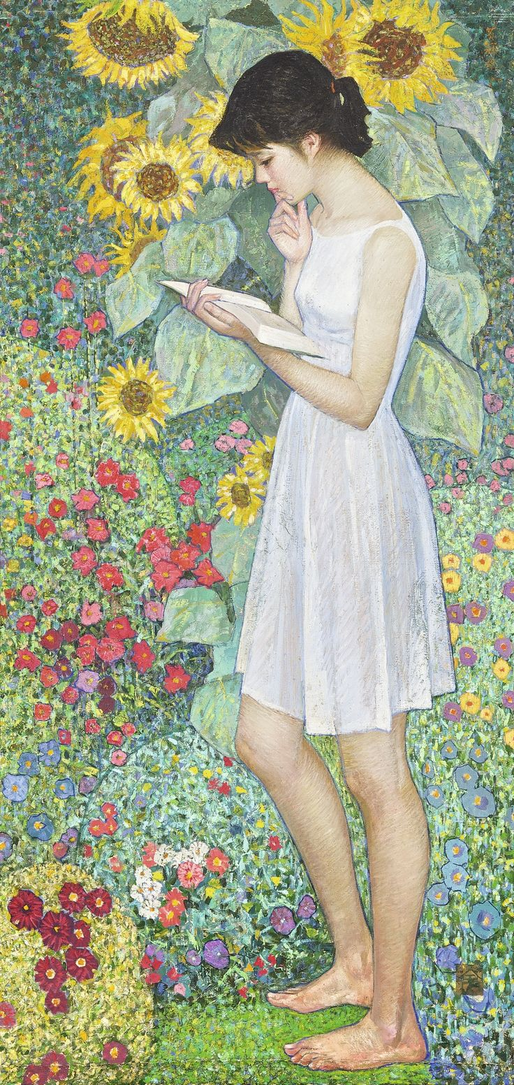 """Huang Guanyu (b 1945), """"July"""" oil on canvas - #reading #books"""