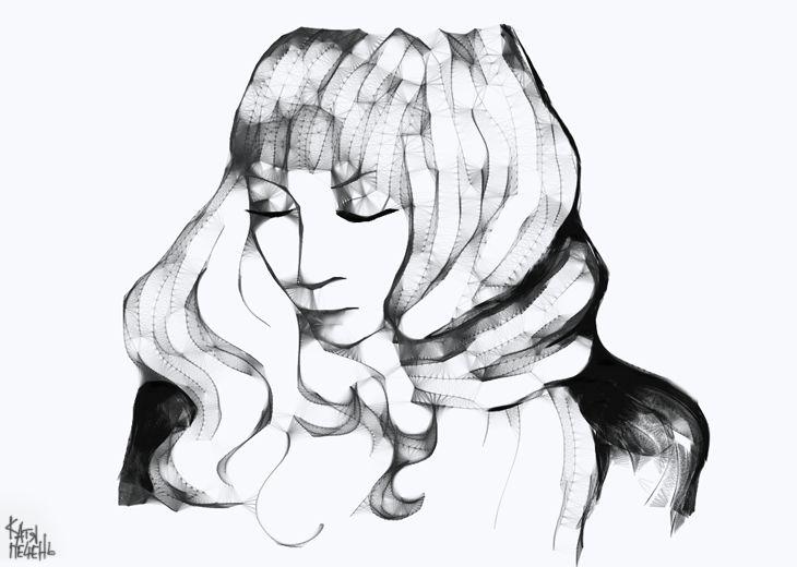 кудрявая девушка, катя, рисунок