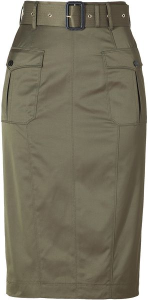 Aniseed Green Belted Cottonblend Pencil Skirt - Lyst