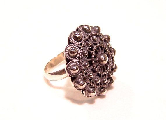 Big charro button ring from Salamanca by Luis by FiligranaGallery, $135.00
