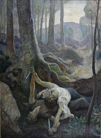 Rebel Jerry and Yankee Jake.  1930 / 1931  Oil on canvas, 34 x 25 in. (86.3 x 63.4 cm)  Private collection - Color illustration f. p. 286, John Fox, Jr., The Little Shepherd of Kingdom Come (New York: Charles Scribner's Sons, 1931)