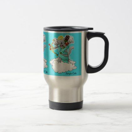 Valentine's Day Smokey Grey Cupid Cat Travel Mug - valentines day gifts gift idea diy customize special couple love