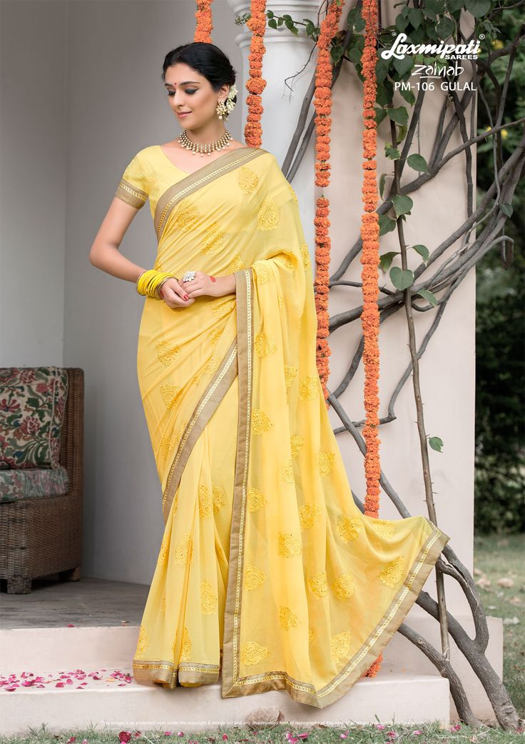 Buy this Appealing Yellow #Embroidered # Georgette #Party_Wear #Stonework #Saree with Georgette Yellow Blouse along with Rawsilk Lace Border Online by Laxmipatisarees. #Price - ₹ 3042.00 #Catalogue- #Zainab #Designnumber- Zainab 106 #Colorfulsarees #Cashondelivery #Orderonline #Freedelivery #Freeshipping #Freehomedelivery #Manufacturer #Retailer #Ecommerce #Onlineservices #Festival #Worldwidedelivery #Shopnow #Happyshopping #India #Zainab0317