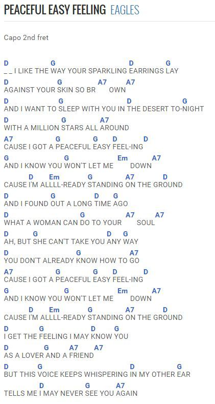 Eagles Best My Love Chords