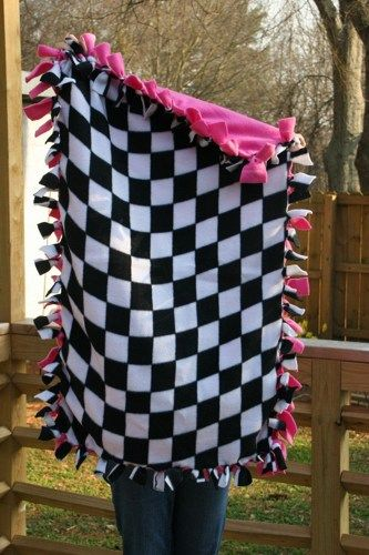 Baby Blanket Checkered Flag Fleece-Black White Checkerboard Child Size | @donnasdesignssc - Housewares on ArtFire