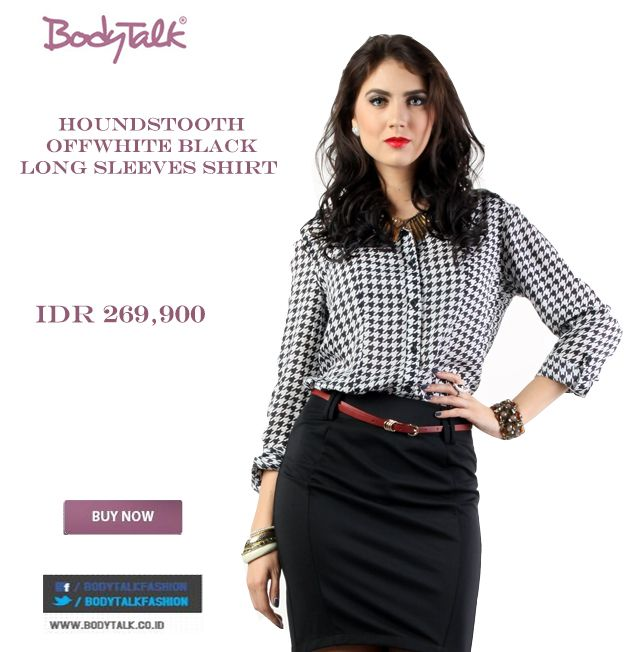 This HOUNDSTOOTH long sleeves shirt Looks Elegant Ladies IDR 269,900 >> http://ow.ly/vn1Hf