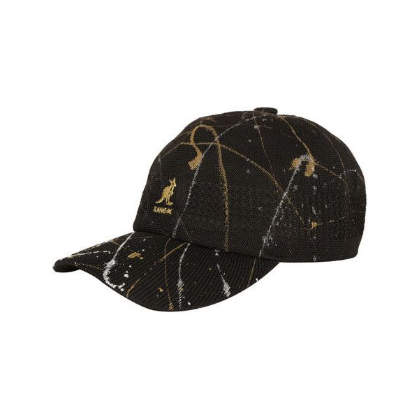 Kangol Spray Tropic Space Cap - Black featuring polyvore, women's fashion, accessories, hats, black, caps hats, ball cap hats, kangol, baseball caps hats and kangol caps