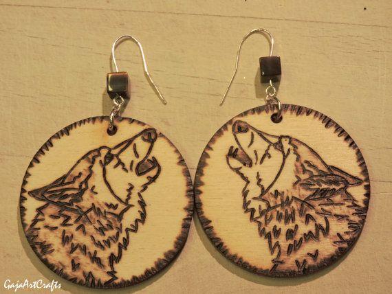 Dangling wooden howling wolf portrait woodland by GajaArtCrafts