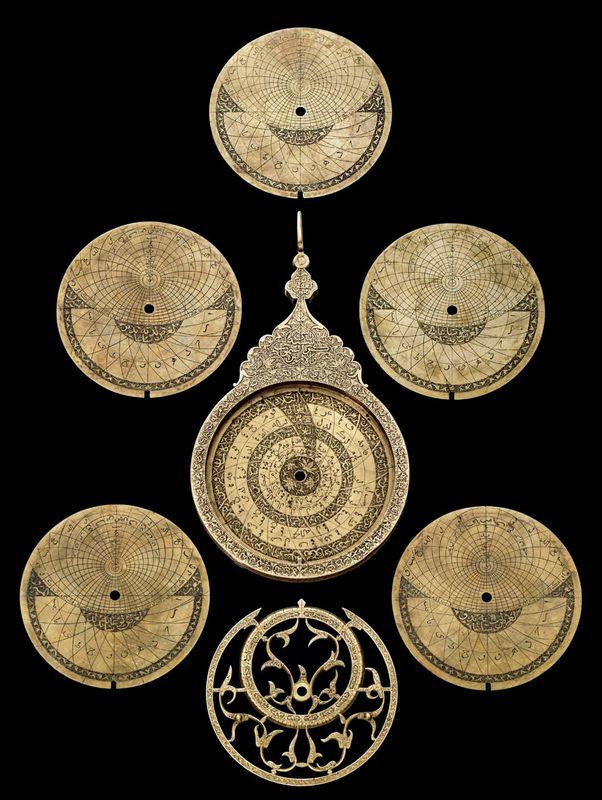 A fine Safavid brass astrolabe, Tabriz, Iran, dated AH 1117-1705-06 AD