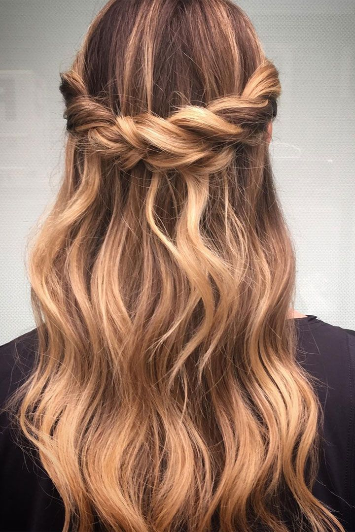 Crown Braid With Half Up Half Down Hairstyle Inspiration Down