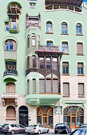 The Art Nouveau Blog: Art Nouveau House Exterior Architecture. See other pin on this board of closeup of left storefront