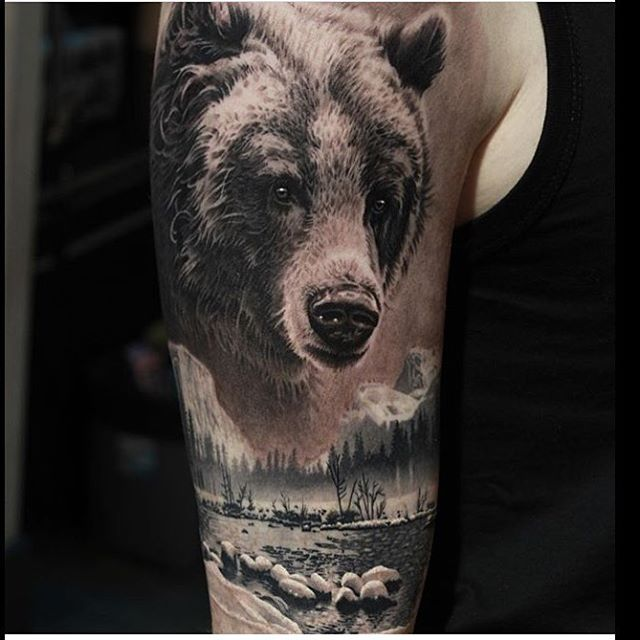 Cool realistic bear tattoo idea on the arm