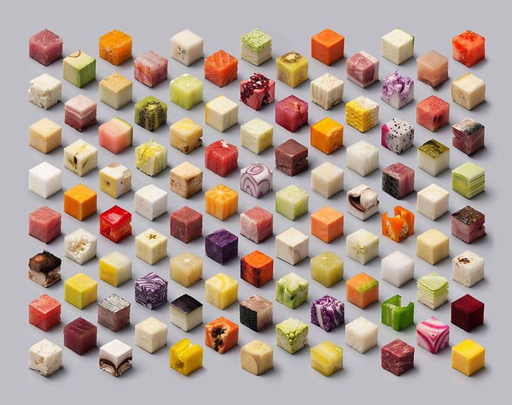 Dutch artists Lernert and Sander cut raw food into 98 perfect 2.5 x 2.5 x 2.5 cm cubes, creating a tantalizing geometric display. This viral photo was commissioned by Dutch newspaper de Volkskrant for their their food-themed documentary photography special.