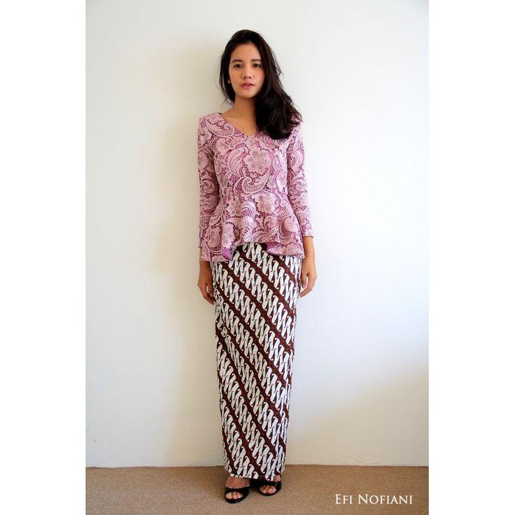 Renata - Purple (Signature) - Stylish purple prada lace top with batik jawa skirt. Gives you that fresh appearance. #kebayamoden #kebayamodern #lacedress #bajuraya #bajuraya2015 #raya2015