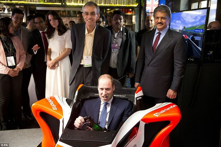 Right royal racer: The couple were also introduced to the team behind Mahindra Racing that...