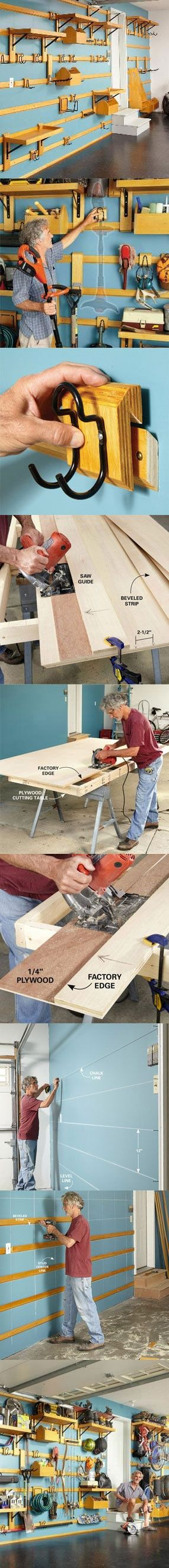Organize your garage and cut the clutter with this garage storage system that you can easily customize to fit any space and can hold almost anything. You can quickly move hooks, shelves and bins around to for the most efficient arrangement. The entire system is inexpensive and easy to build. You only need two power tools—a circular saw and a drill. Learn how you can build it this weekend at…