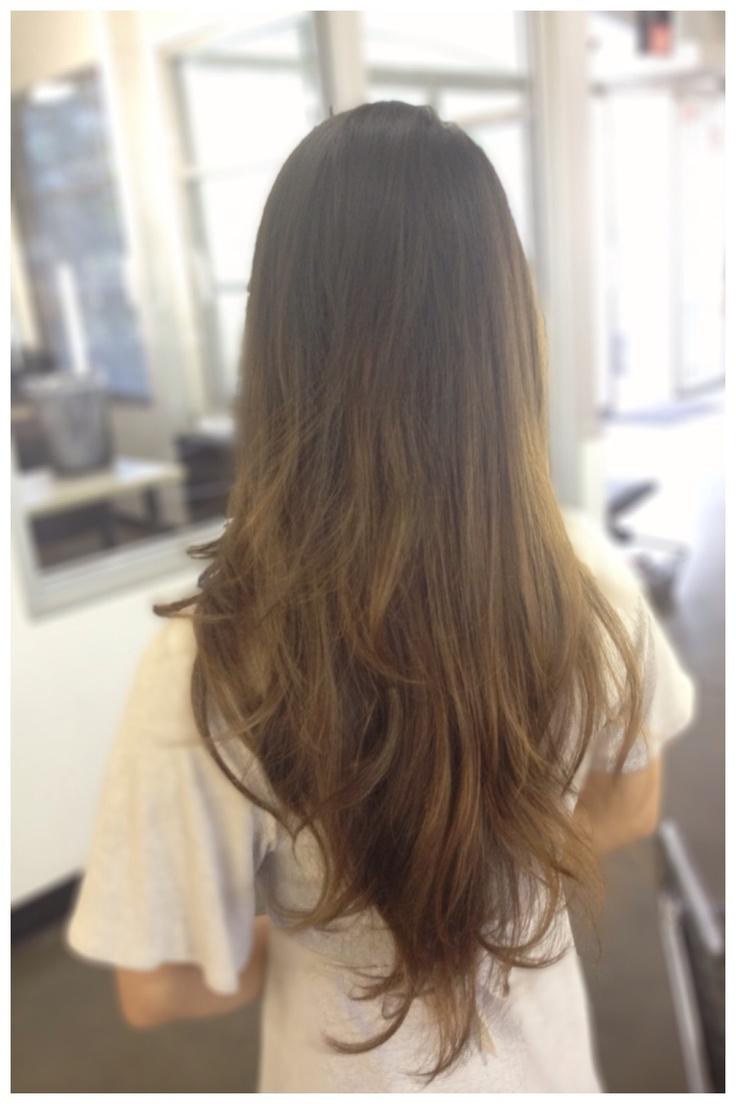 Long hair Balayage razored Carsten cut, brown hair ombré, color meltV ...