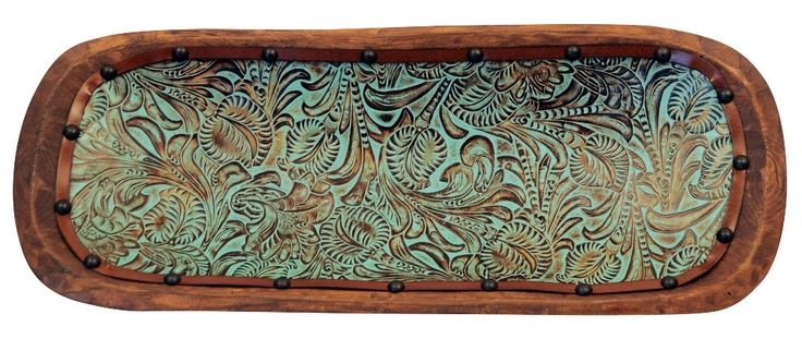 Turquoise patina on embossed Floral Tooled Leather Lined ...