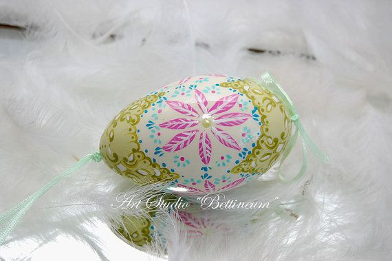 Easter egg painted by hand.Easter egg with handmade by Bettineum, $25.00