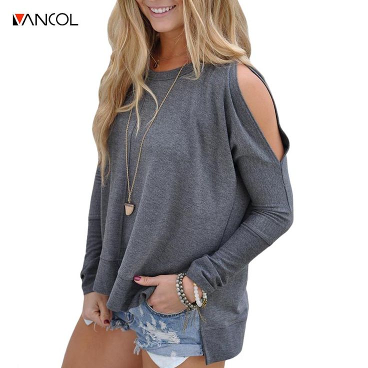 vancol 2017 autumn harajuku clothing women sexy long sleeve o neck cotton ladies t shirt off shoulder loose female tops tumblr  #Affiliate