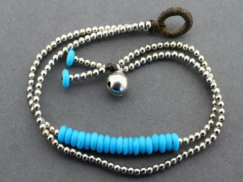 2 strand turquoise disc bracelet - metalic
