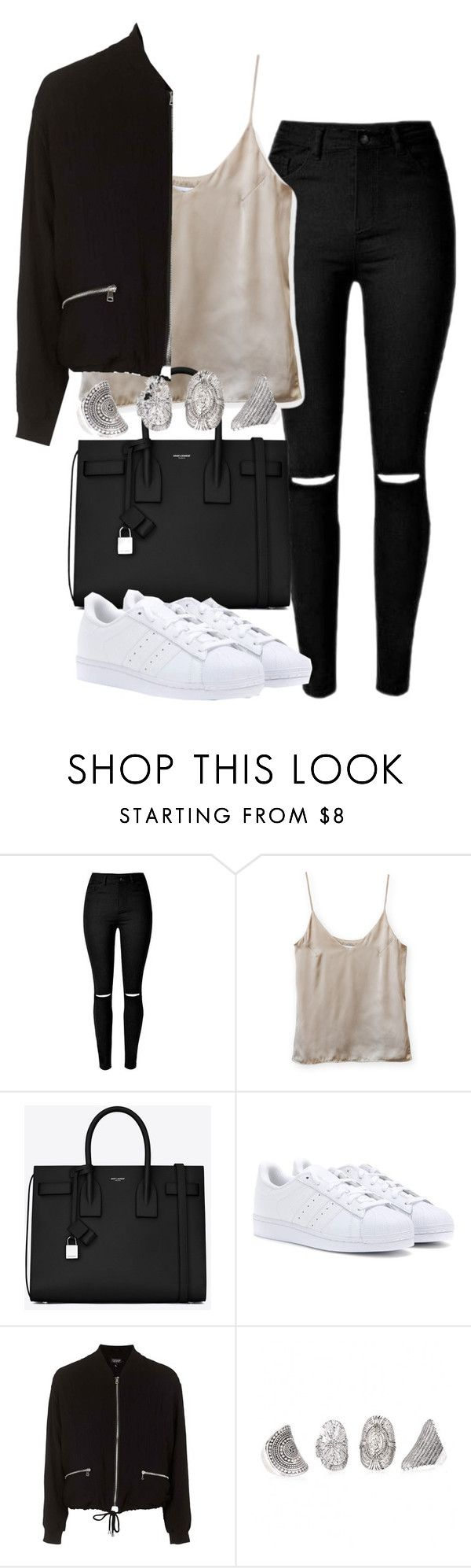 """Untitled #4212"" by maddie1128 ❤ liked on Polyvore featuring Yves Saint Laurent, adidas and Topshop"