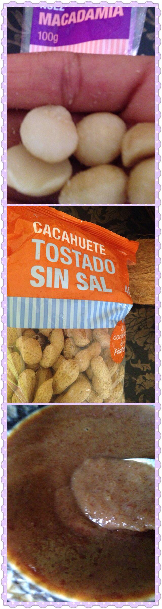 Dulce: nuez de Macadamia, cacahuete, leche de nuez del Brasil, todas las nueces ya trituradas, añades canela, azúcar de coco, vainilla,poner al fuego y deja que se haga lentamente. Si deseas añades un chorro de leche evaporada.