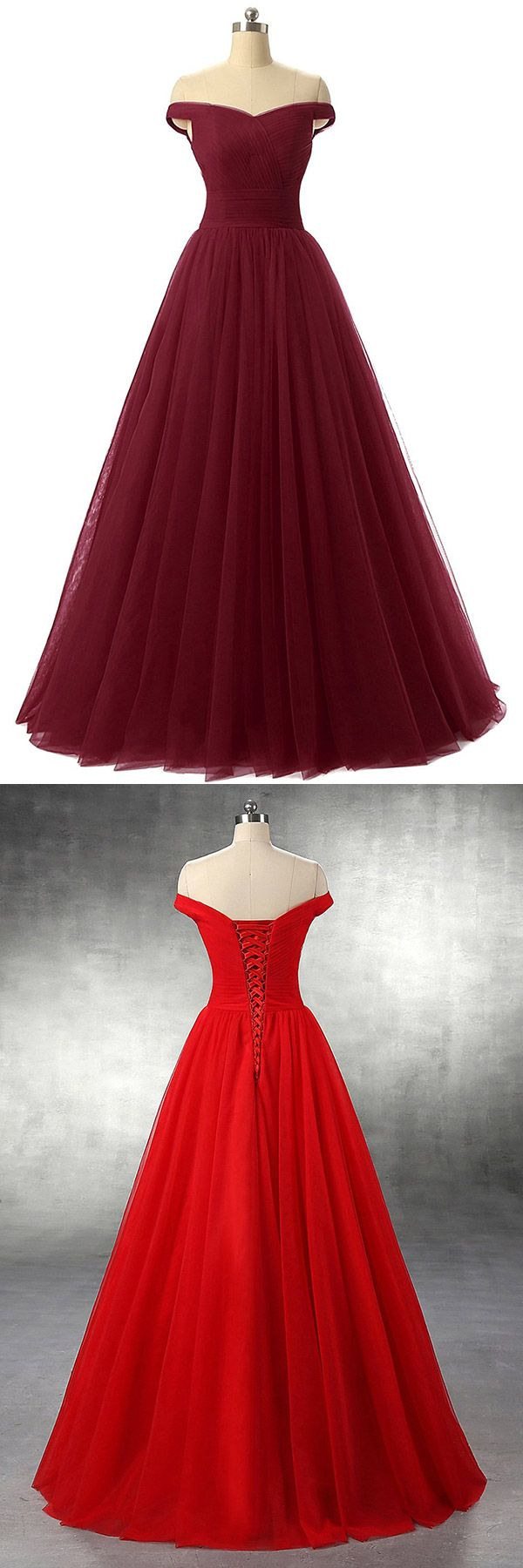 Burgundy Prom Dresses Long, 2018 Prom Ball Gowns, Ruffles Off-the-shoulder Formal Evening Dresses Princess