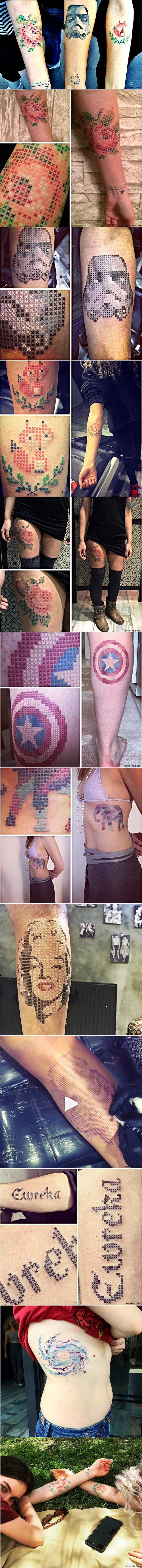 """Новомодные тату: """"Вышитые крестиком"""" Тату-мастер из Анкары Ева Крбдк предложила выполнять татуировки в виде нанесения рисунков крестиком, имитируя вышивку. Многим такая идея пришлась по вкусу."""