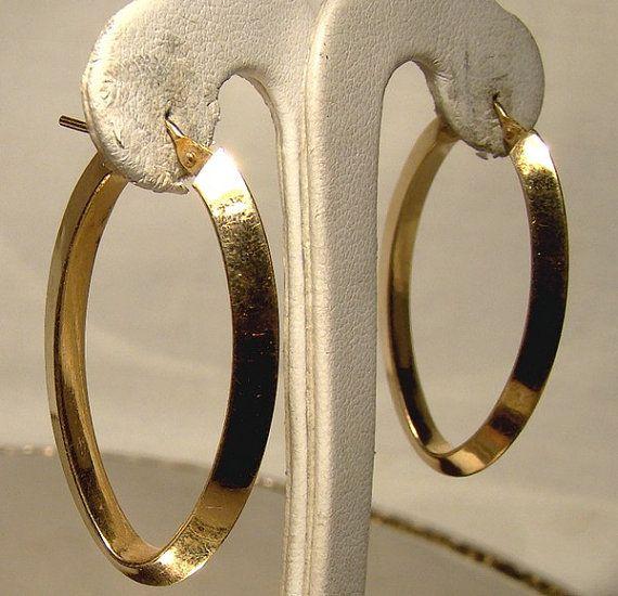 14K Yellow Gold Hoop Earrings 1970s Pierced 14 K Pointed Edge