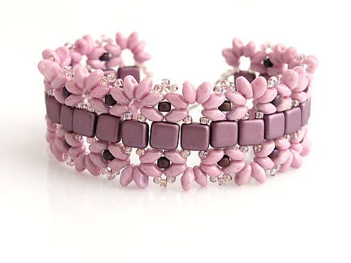 Superduo and czech tile bracelet http://www.sashe.sk/kacenkag/detail/ruzovo-fialova-neha