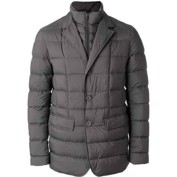 Herno padded jacket (45.370 RUB) ❤ liked on Polyvore featuring men's fashion, men's clothing, men's outerwear, men's jackets, grey, herno men's jackets, mens grey jacket, mens padded jacket and mens gray leather jacket