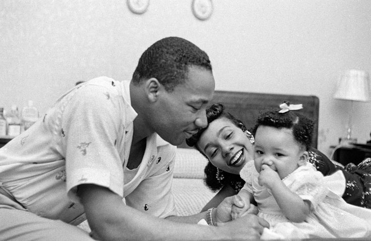 Coretta Scott King: Martin Luther King, Jr. and his wife, Coretta Scott King, enjoy spending quality time with their firstborn child, Yolanda King, in Montgomery, Alabama, in May, 1956. (Photo by Michael Ochs Archives/Getty Images)