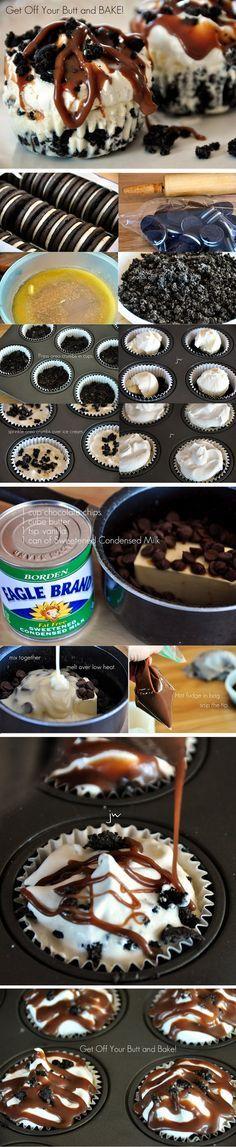 Cupcakes helados de chocolate y oreos / Hot Fudge Oreo Cupcakes or Pie