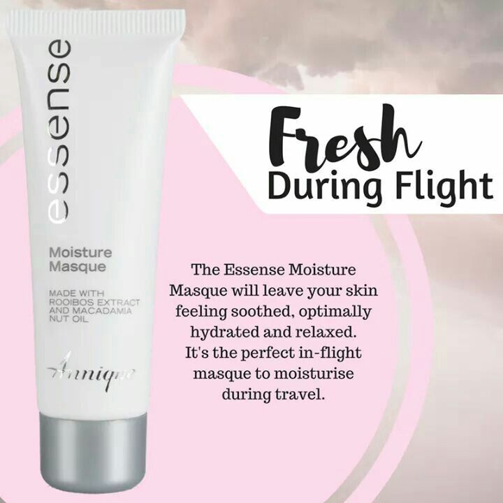 The Essense Moisture Masque is a unique masque, because it does not have to be removed after application. It will leave your skin feeling soothed, optimally hydrated and relaxed. It's the perfect in-flight masque to moisturise during travel. #Annique