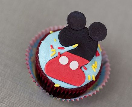 Mickey Mouse Age Number Fondant Cupcake by ClaudiaCupcakeLady, $18.00