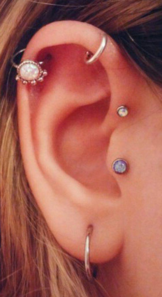Cute Multiple Ear Piercing Ideas Opal Cartilage Ring Hoop 16G Tragus Stud Earring Forward Helix Jewelry at MyBodiArt.com