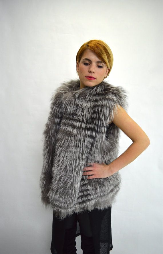 Real silver fox fur vest  silver fox fur vest genuine by BeFur