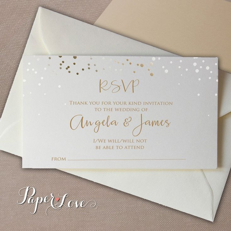 Gold or Silver Foil Confetti Reply Card  With Envelope RSVP