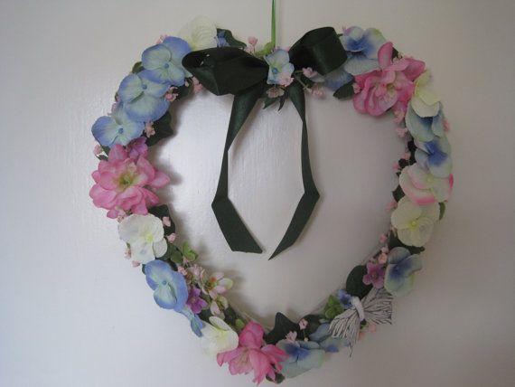 Heart shaped pastel color floral wall decor wreath, door decor, wall hanging, decor, confirmation decor, baby room decor, baptism decor...
