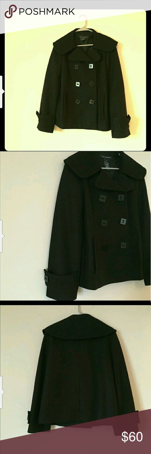 French connection pea coat This coat is in excellent condition. Sadly just too big for me. It's very thick and true to size. I love the unique buttons and collar style. French Connection Jackets & Coats